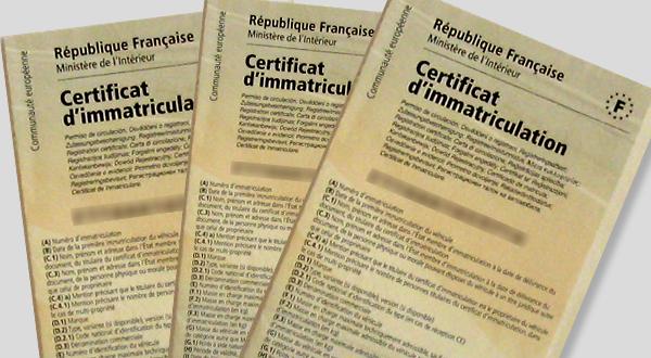 Demande de certificat d'immatriculation